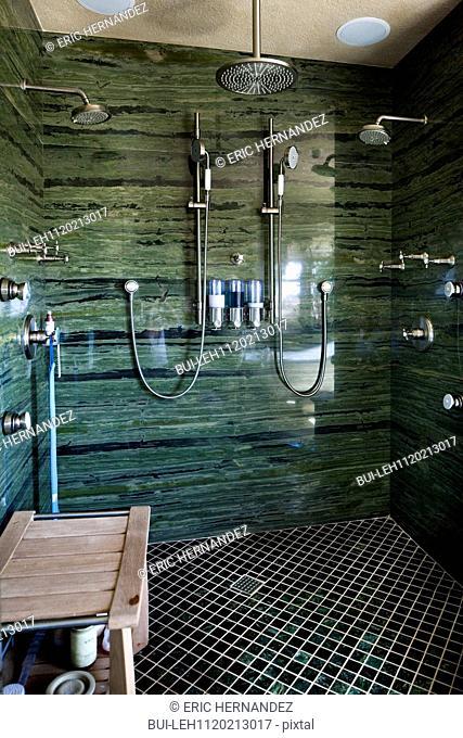 Contemporary shower room at home; Laguna Niguel; California; USA