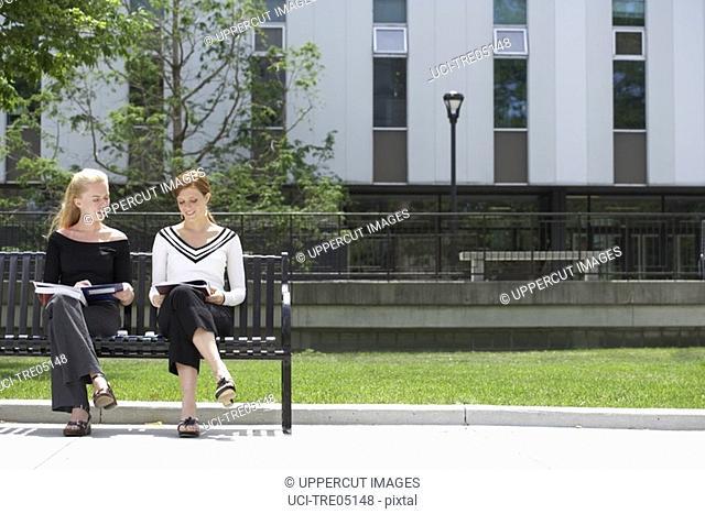Women reading on park bench