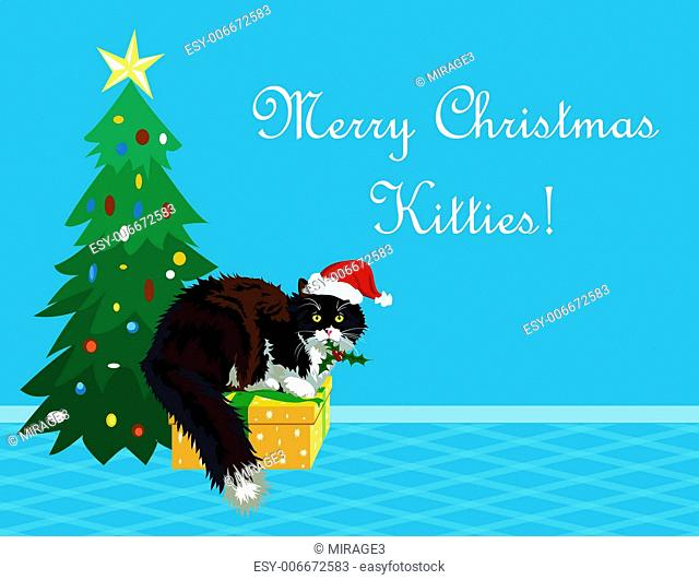 Christmas theme realistic calico cat with mistletoe in its mouth wishing a Merry Christmas to all the kitties. Funny cartoon making perfect greeting card