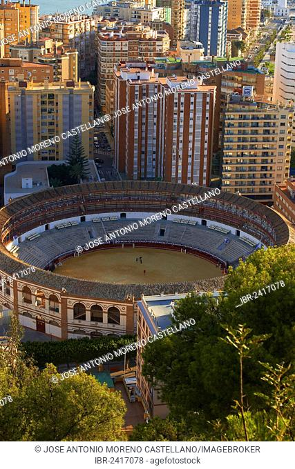 Bullring, view from Gibralfaro, Malaga, Costa del Sol, Andalucia, Spain, Europe