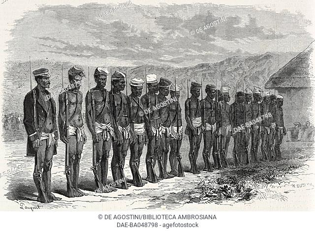 New Caledonian indigenous troop, illustration from the magazine L'Illustration, Journal Universel, volume LVII, no 1482, July 22, 1871