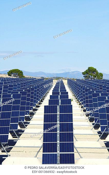 photovoltaic panels for renewable electric energy production in Zuera, Zaragoza, Aragon, Spain