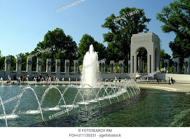 Washington DC, D.C District of Columbia, World War II Memorial, Atlantic Pavilion, Fountain, National Mall, Memorial Parks, Nation's Capital