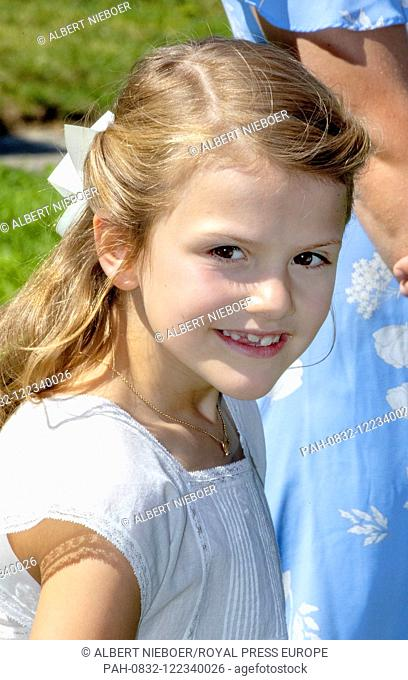 Princess Estelle of Sweden at Solliden Palace in Borgholm, on July 14, 2019, to attend the celebrations of Crown Princess Victoria her 42nd birthday