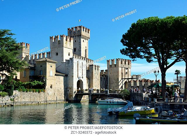 Scaligero castle in the historic center of Sirmione on Lake Garda - Italy