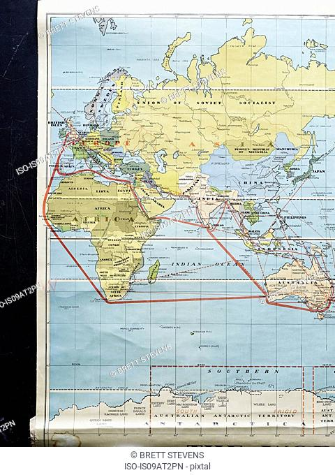 Vintage sub-continent spice route map