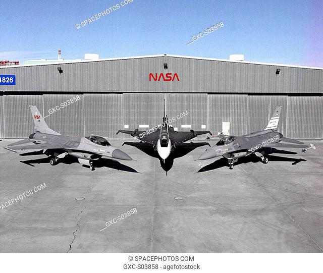 Photographed outside their hangar at the Dryden Flight Research Center, Edwards, California, part of Dryden's F-16 fleet is, left to right, an F-16A