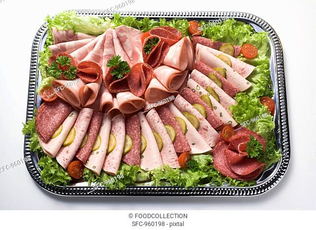 Substantial cold cuts platter