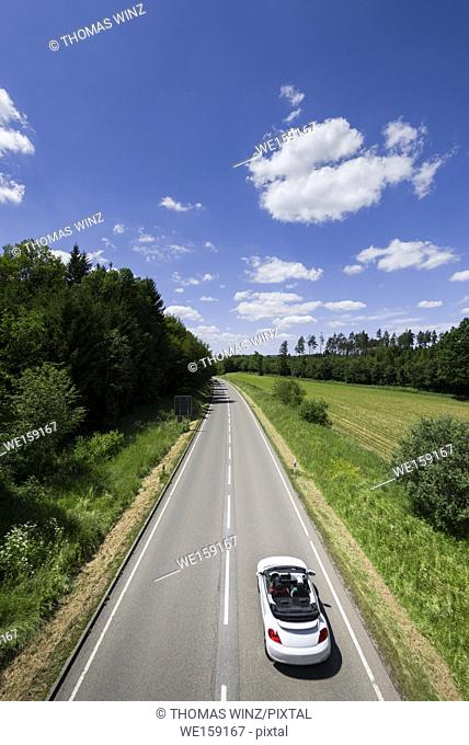 High angle view of a country road in Springtime , Baden Württemberg , Germany