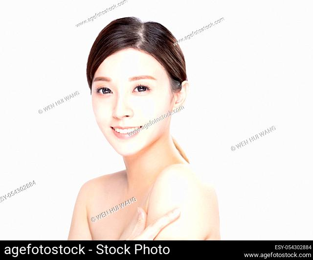 closeup asian young beauty with clean fresh skin