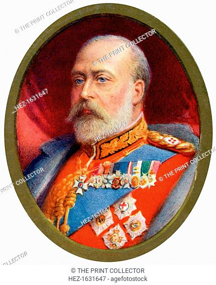 King Edward VII, 1910. Miniature portrait of King Edward VII (1841-1910). Before his accession to the throne in 1901, Edward held the title of Prince of Wales