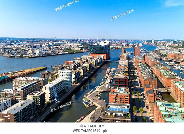 Cityscape with Hafencity, Speicherstadt and Elbphilharmonie, Hamburg, Germany