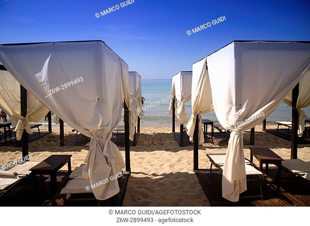 Sun tent on the beach sea view in Salento Puglia Italy