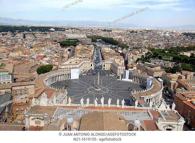 Piazza di San Pietro and the Basilica di San Pietro, Città del Vaticano, Rome, Lazio, Italy, Europe