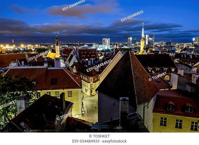 Views of the beautiful evening panorama of old Tallinn in lighting.Estonia