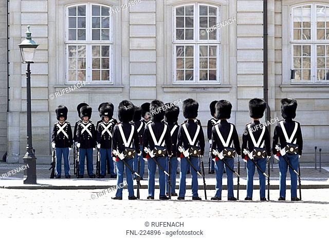 Royal guards in front of palace, Amalienborg Palace, Copenhagen, Denmark