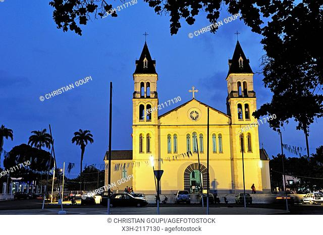 cathedral at dusk, city of Sao Tome, Sao Tome Island, Republic of Sao Tome and Principe, Africa