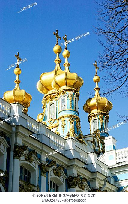Golden domes of The Royal Chapel of Catherine Palace of Saint-Petersburg. Pushkin. St. Petersburg. Russia