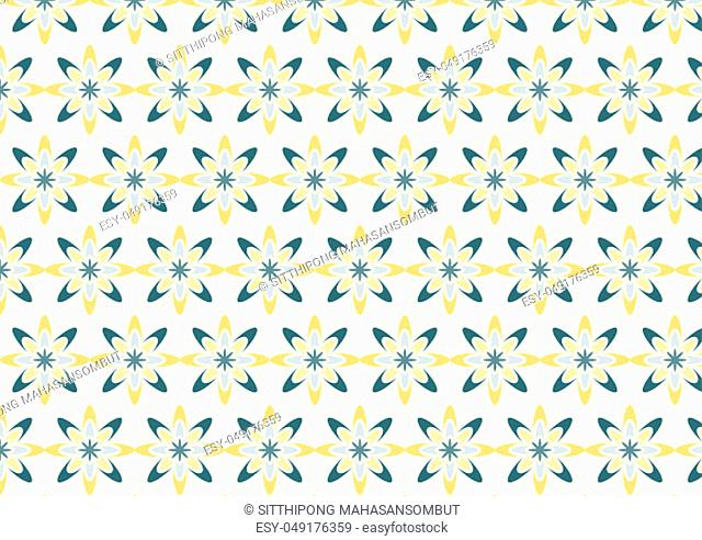 Modern yellow flower pattern in boomerang shape on light yellow background. Novel blossom pattern in sweet style for love or cute design