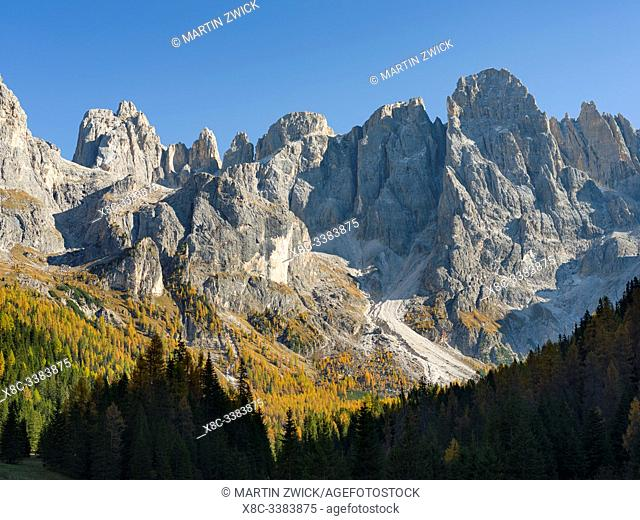 Peaks towering over Val Venegia. Pala mountain range (Pale di San Martino) in the dolomites of Trentino. Pala is part of the UNESCO world heritage Dolomites