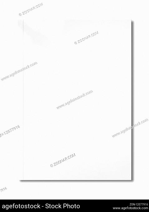 White booklet cover isolated on blank background, mockup template