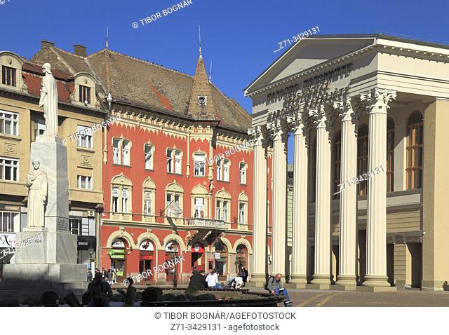 Serbia, Vojvodina, Subotica, Freedom Square, Car Jovan Nenad statue, National Theatre