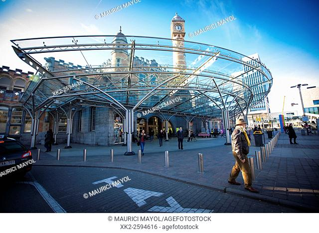 Main entrance of Gent Sint Pieters, SNCB / NMBS railway station, Ghent, Belgium
