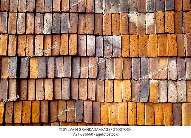 Bricks traditional making. Antigua. Guatemala