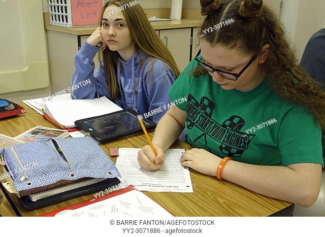 7th Grade Students Doing Class Lesson, Wellsville, New York, USA