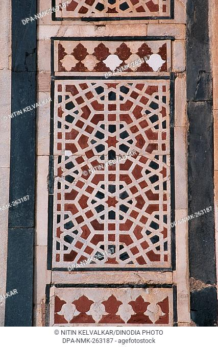 Inlay work at Qila-i-Kuhna Mosque, Purana Qila, New Delhi, India, Asia