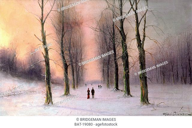 Snow Scene-Wanstead Park, Christiansen, Nils Hans (late 19th century) / Chenil Galleries, London, UK / Bridgeman Images