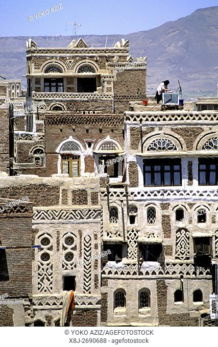 yemen, sana'a, traditional house