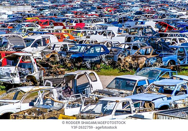 Scrapyard for wrecked motor cars. South Africa