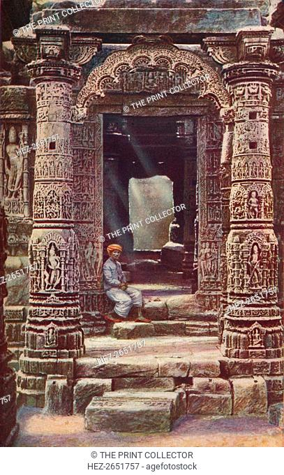 'Bombay. Carved work of exquisite beauty enriches the eleventh-century Hindu temple of Surya, the sun god, at Modhera in Gujarat', c1920