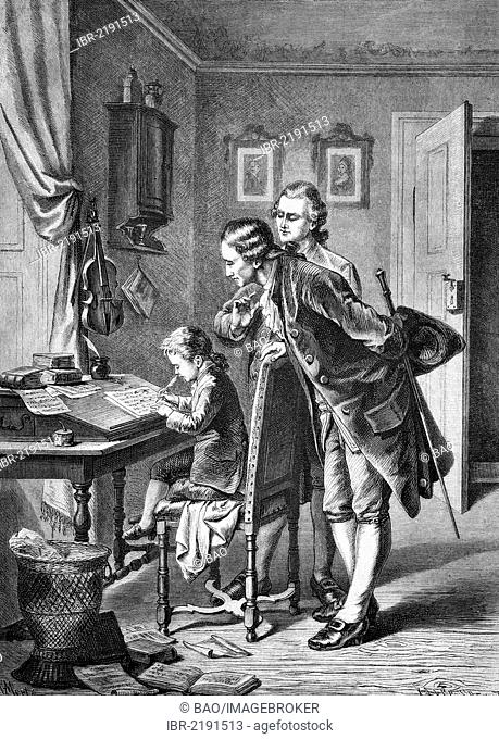 Five-year-old Mozart creating his first composition, historical engraving, about 1888