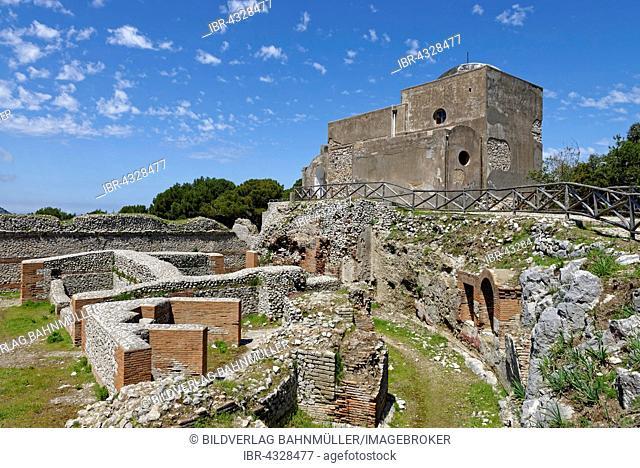 Ruins of the Roman Villa Jovis with Chiesa di Santa Maria del Soccorso church, Capri, Gulf of Naples, Campania, Italy