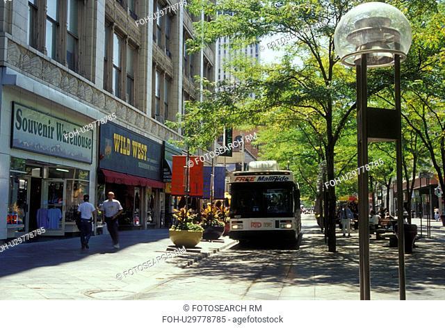 Denver, CO, Colorado, downtown, shopping district, 16th Street Mall, pedestrian street, bus, Mall Ride