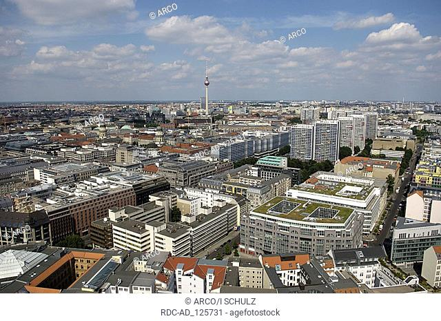 Aerial view over town with television tower Berlin Germany