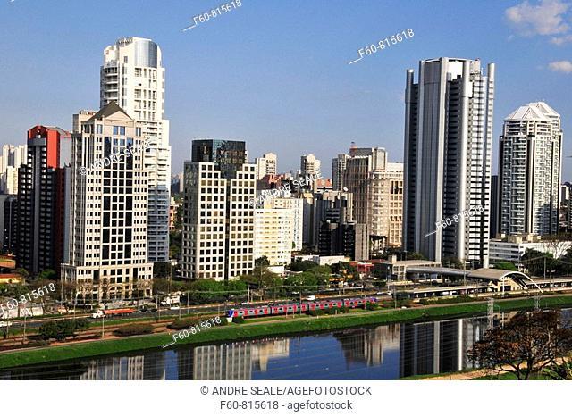 Skyline around Pinheiros River, Sao Paulo, Brazil