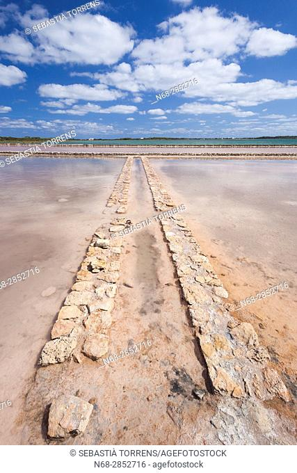 Saltworks at Formentera, Balearic Islands, Spain