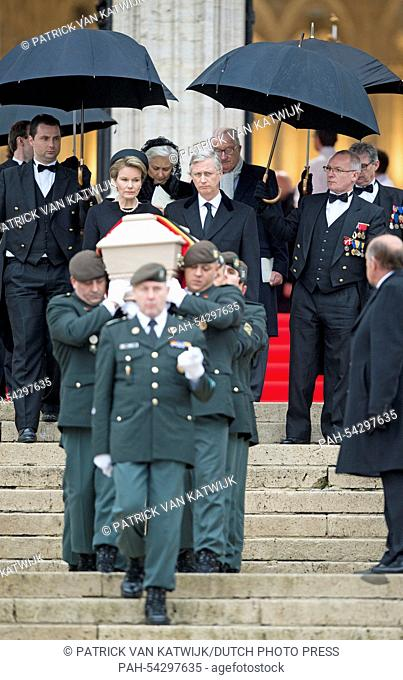 Belgian King Philippe and Queen Mathilde (both C) attend the funeral of Belgian Queen Fabiola at the Cathedral of St. Michael and St