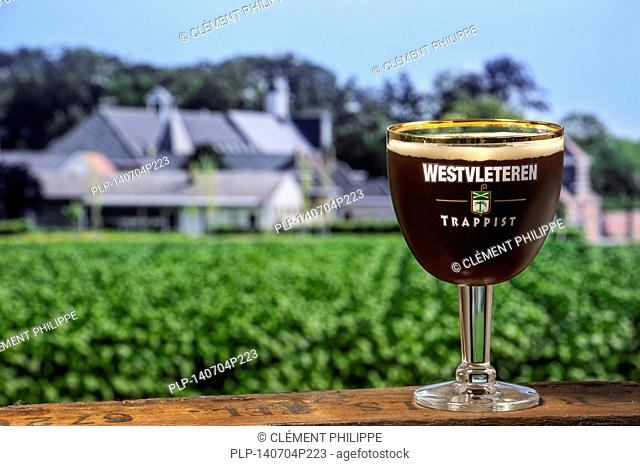 Westvleteren trappist, best beer in the world, in front of the Sint-Sixtusabdij / Abbey of Saint Sixtus of Westvleteren and brewery run by Cistercian / Trappist...