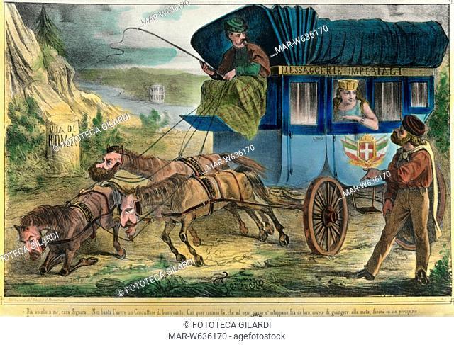 RISORGIMENTO Caricatura sulla questione romana. Garibaldi consiglia all'Italia, seduta sulla diligenza 'Messaggerie Imperiali' guidata verso Roma da Vittorio...