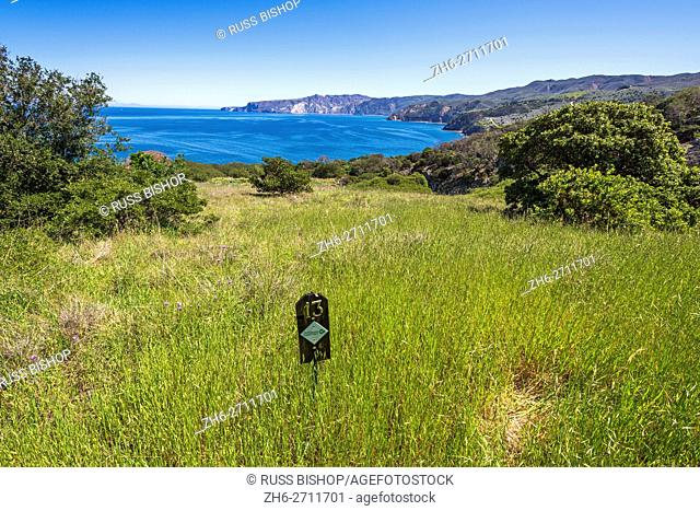 Interpretive marker on the Pelican Bay trail, Santa Cruz Island, Channel Islands National Park, California USA