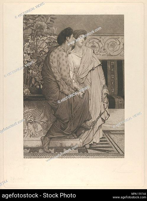 The First Whisper of Love. Artist: After Sir Lawrence Alma-Tadema (British (born The Netherlands), Dronrijp 1836-1912 Wiesbaden); Etcher: Leopold Löwenstam...
