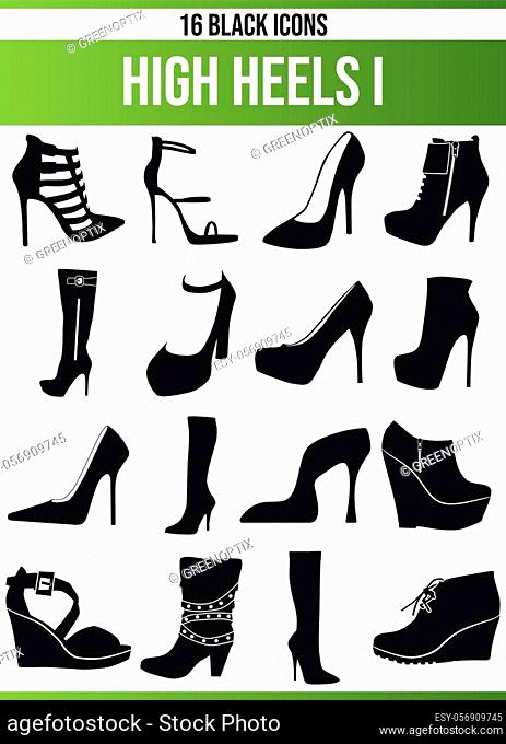 Black pictograms / icons on high heels. This icon set is perfect for creative people and designers who need the issue of high heels in their graphic designs