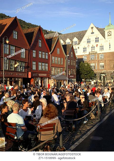 Norway, Bergen, Bryggen historic area, people