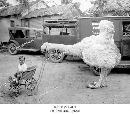 Fake ostrich pushing boy in stroller All persons depicted are not longer living and no estate exists Supplier warranties that there will be no model release...