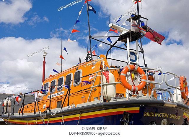 England, East Riding of Yorkshire, Bridlington, Close up of the Bridlington RNLI lifeboat 'Marine Engineer'