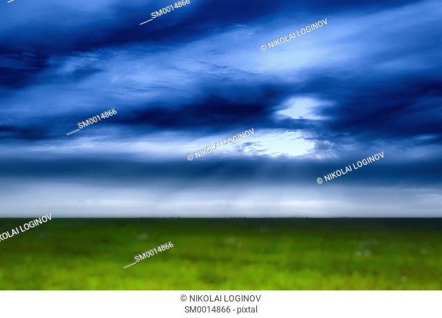 Idealistic simple happy landscape painting